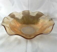 Vintage Iridescent Glass Fruit Bowl By Jeannette Glass Co. In Iris & Herringbone