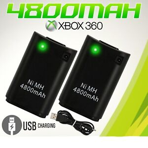 Rechargeable Battery Pack 2pcs 4800mAh USB Charger Cable For XBox 360 Controller