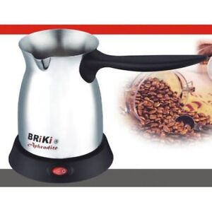 NEW! Briki Original Aphrodite Electric Cordless Greek Coffee Maker Brush Finish