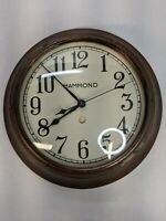 Vintage Hammond Industrial / School Electric Wall Clock Glass Face WORKS