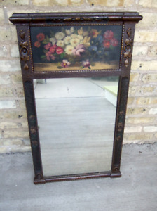 Antique Carved Wood Hand-painted Floral Still Life Trumeau Mirror
