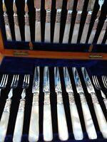 24 Finest Set Antique Mother of Pearl Silver Plate knives forks 1890 Oak Case