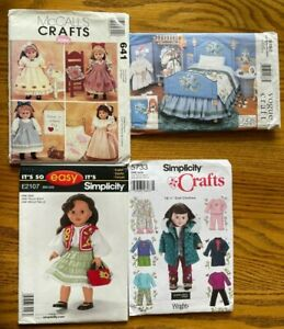 """4 UC Simplicity Vogue McCall 18"""" Doll Clothes Sew Patterns Lot Fit American Girl"""