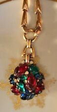 Signed Crown Trifari Alfred  Philippe Fruit Salad Pendant & Sterling Chain