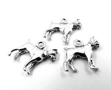 Set of Three (3) Pewter Boxer (Dog) Charms - 0047