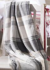 Luxury Grey Check Soft Fleece Christmas Throw Warm Festive Tartan Winter Blanket
