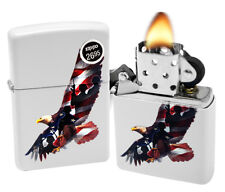 Zippo 29418 Soaring Eagle Soldiers USA Flag White Matte Finish Windproof Lighter