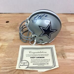 Troy Aikman Signed Autographed Cowboys Riddell Mini Helmet Players COA
