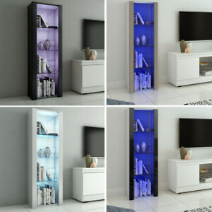 High Gloss Fronts Cabinet Glass Shelves Display Sideboard Cupboard Unit RGB LED
