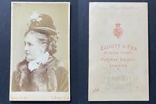 Elliott & Fry, London, Grace Rawlinson, actrice, actress, circa 1875 vintage cdv