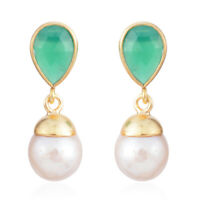 Silver Vermeil Yellow Gold Plated Green Onyx Dangle Drop Earrings Cttw 2.8
