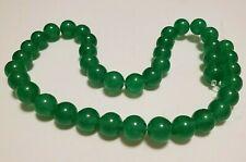 """16"""" Strand 10mm Round Green Jade Beads 40 Beads"""