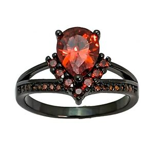Red Cubic Zirconia Black Gold Plated Ring