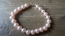 """Faux Pink Pearl 14k Gold Filled Bracelet 7"""" x 3/8 inches"""