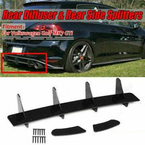 Rear Bumper Lip Diffuser Spoiler Side Splitter 4 Fin For VW GOLF 7 MK7 GTI 14-17