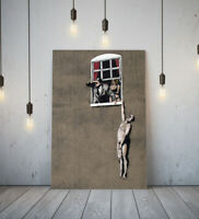 BANKSY AFFAIR -FRAMED CANVAS GRAFFITI WALL ART PICTURE PAPER PRINT- GREY RED