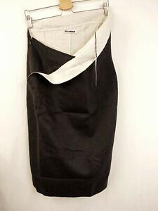 JIL SANDER Rock Gr.44 Skirt Wolle Angora Kaschmir Cashmere Schwarz Creme