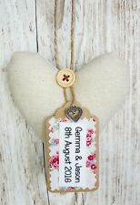 Special 4th Linen Wedding Anniversary Heart Keepsake, Homemade Gift, 4 Years