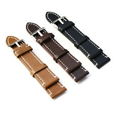 Leather Vintage Style Watch Strap Band Mens Stainless Steel Buckle Pop.*