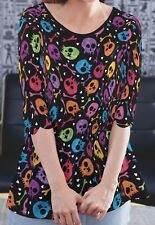 Colorful Skulls Women Trim Sleeve Long Top Shirt Blouse b127 acr02854