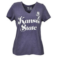 NCAA Kansas State Wildcats V Neck Purple Short Sleeve Tshirt Tee Womens Script