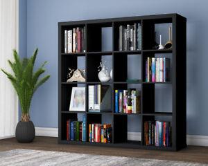 16 Cube 4 Tier Bookshelf Storage Shelves Office Shelving Display Rack Bookcase