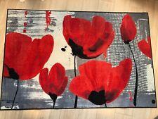 Wash & Dry Teppich Fußmatte 115 X 175 cm Blumen Rot