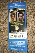 Thomas Hearns Vs Sugar Ray Leornard Boxing Ticket Caesars Palace