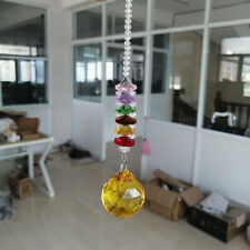 Yellow Crystal Ball Hanging Suncatcher Chandelier Pendant Lamp Window Decoration