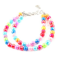 Colorful Round Beads Decor Lobster Clasp Pet Dog Doggie Collar Necklace S