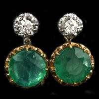 Antique Diamond 9 Ct Green Emerald Dangle Earrings 18K White/Yellow Gold Finish