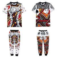 3D Hearts Poker Bandana T-shirt jogger sweatpants PUNK Emoji Trousers Outfit US
