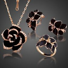 Black Enamel Rose Gold Flower Style Jewelery Set
