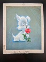 Vtg 60s Westie Terrier Dog Rose Sweet Greeting Card Original Artwork Proof
