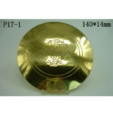 "Custom Brass Paten Plate Tray with IHS Pattern for Church Mass 5.51""Dia"