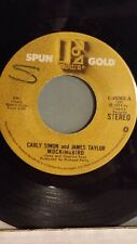 """CARLEY SIMON  45 RPM - """"Mockingbird"""" & """"Haven't Got Time For the Pain"""" VG"""