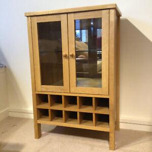 Bently Designs Oak Coloured Drinks Cabinet Wood Glass Doors Wine Rack Dining