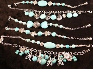 Chunky Faux Turquoise Silver Toned Fashion Bracelets - 6 Designs + Free Gift Bag