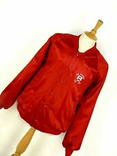 MENS VINTAGE 90'S SHINY RED NYLON BASEBALL VARSITY USA JACKET ROSS ALTAVISTA XL