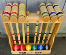 "CROQUET SET & CADDY 6 Player 32"" Maple & Brass Backyard Game Amish Handmade USA"
