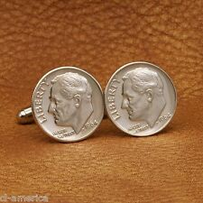 FDR Silver Dime Cufflinks, American President Franklin D Roosevelt Coin