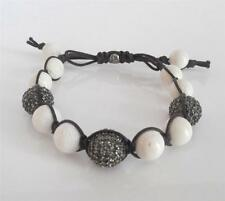 New TAI White Bone Bead Pave Grey Crystal Balls Knotted Cord Adjustable Bracelet