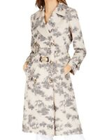 INC Women's Trench Coat Beige Size Large L Belted Toile Printed $149 294
