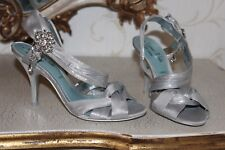 NEXT Shiny Silver Textile & Rhinestone Summer Sandals Shoes Heels size 5