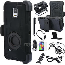For Samsung Galaxy S5 Black Armor Rugged Case + Holster Cover w/ Stand Belt Clip
