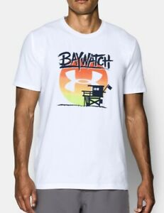 Mens Under Armour Baywatch Sunset Rock Graphic Shirt 1311001 100 XL White