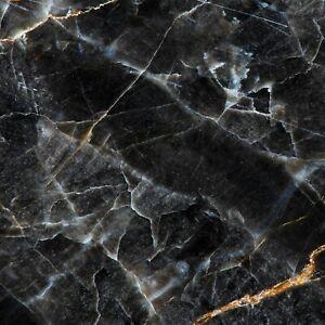 Küchenrückwand Glas-Alternative Marmoroptik schwarz Hochwertig Spritzschutz 3 m