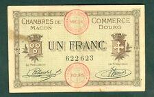 NECESSITE 1 FRANC CHAMBRE DE COMMERCE DE MACON BOURG ETAT : TTB   lot 282