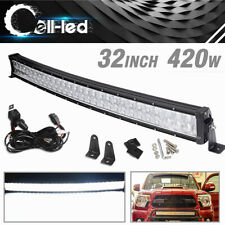 32 inch LED Light Bar Curved Spot Flood Backup Driving for Jeep ATV 420W+Wiring