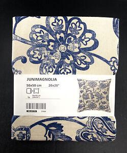 """Ikea Junimagnolia Floral Unbleached Cotton Natural / Blue 20x20"""" New"""